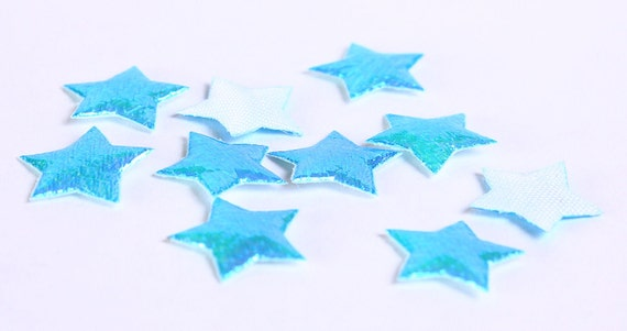 Dollar Sale Clearance - Blue star mini shiny iridescent applique 10mm 10pc (179) - SALE