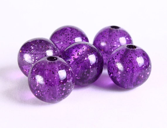 15mm Purple grape acrylic resin beads  - translucent with gold powder - 6 pieces (302) - Flat rate shipping