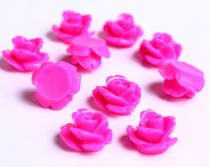 10mm Fuschia rose cabochons - 3D cabochons - resin rosebud cabochon - dark pink cabochons - 10 pieces (086) - Flat rate shipping