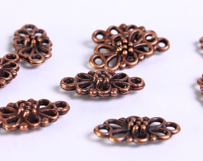15mm x 8mm Antique copper connector filigree flower - Link charms - 3D connectors - Flower Drop - Flower links (147) - Flat rate shipping