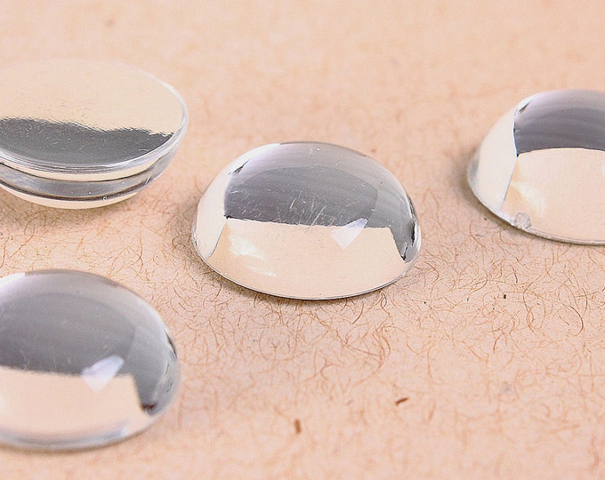 15mm clear silver cabochon - 15mm round Cab with Silver Foil - 4 pieces (159) - Flat rate shipping