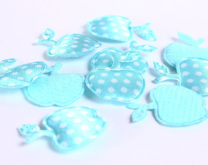Dollar Sale Clearance - Baby blue apple polka dots applique satin felt - 17mm x 21mm - 10 pieces (164) - SALE