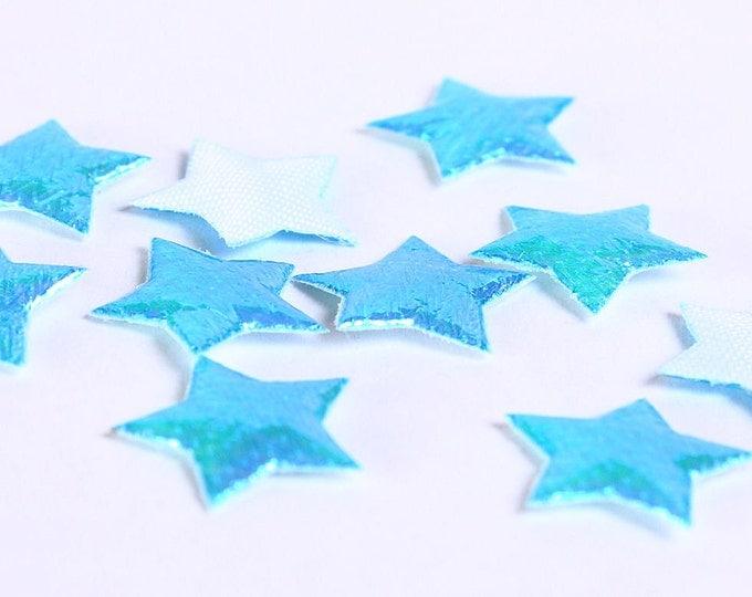 Dollar Sale Clearance - 10mm Blue star applique - 10mm mini shiny iridescent applique - 10 pieces (179) - SALE