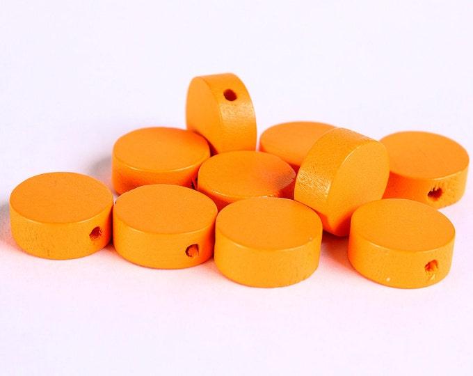 13mm Orange wood beads - Orange flat round beads - Orange large lens beads - Orange disk beads (268) - Flat rate shipping