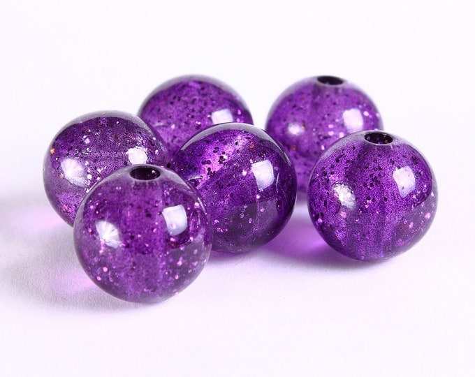 15mm Purple grape acrylic resin beads  - translucent with gold powder (302) - Flat rate shipping