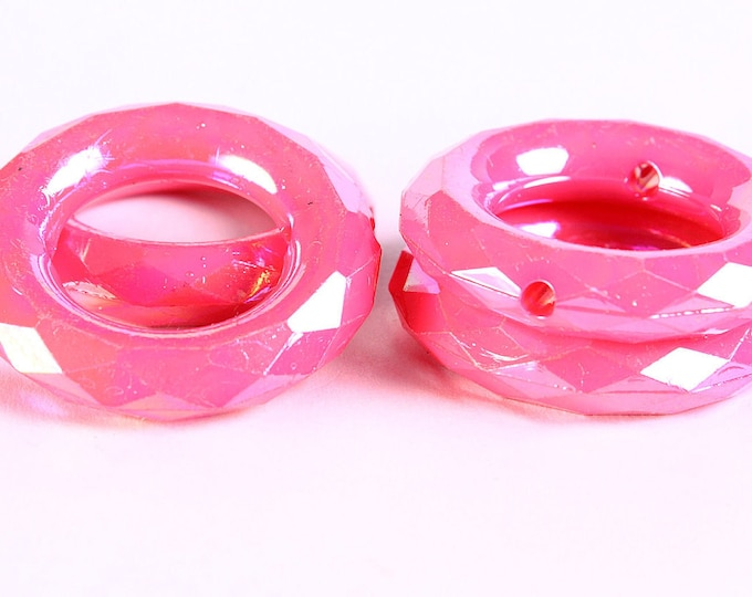 Sale Clearance 20% OFF - 35mm Pink rondelle AB color faceted beads - round beads - 4 pieces (352)