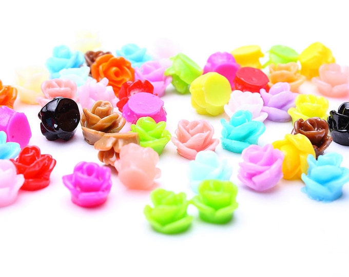 7.5mm flower cabochons - 7.5mm tiny rose cabocons - 7.5mm small flower cabochons - mixed color (484) - Flat rate shipping