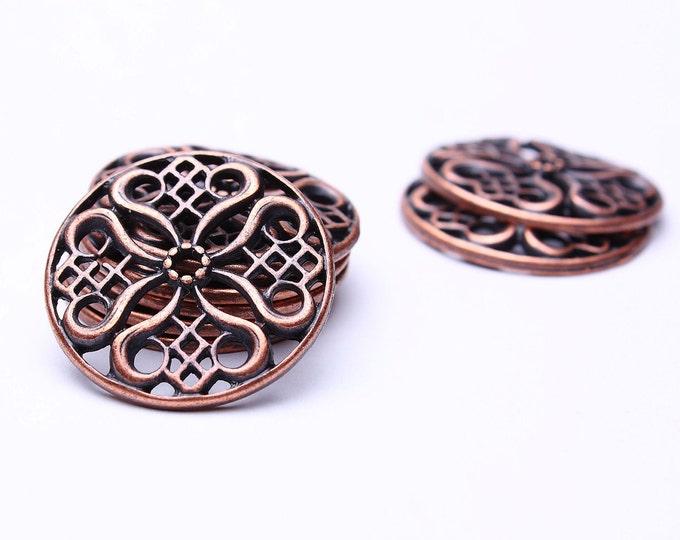 24mm Tibetan filigree flower pendant bead - antique copper links - Nickel free - Lead free (488) - Flat rate shipping