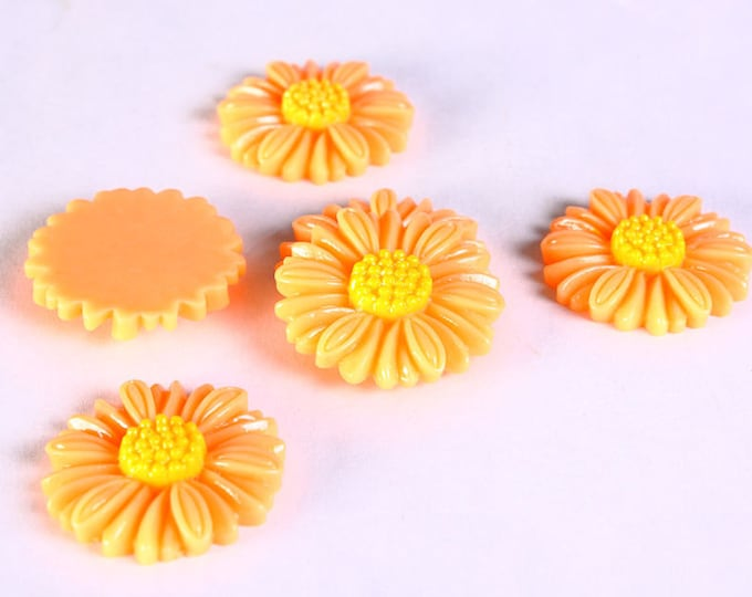Sale Clearance 20% OFF - 6pc 27mm lucite rose resin flower cab cabochon daisy light brown 6 (637)