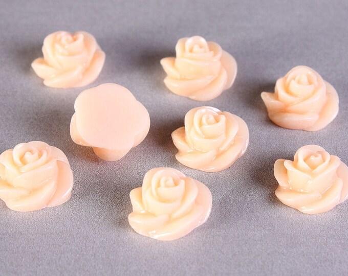 8 13mm Peach pink orange rosebud rose cabochon cab 8pc (667) - Flat rate shipping