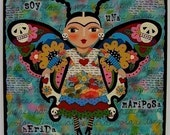 Frida Kahlo Butterfly  8 x 8 Print of  painting by LuLu