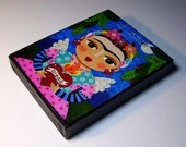"Frida Kahlo Flaming Heart Angel 4"" x 5""  Wood Block Print of  painting by LuLu"