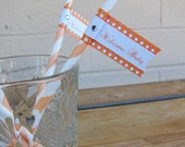 Orange Drinking Straws with Orange and White Polka Dot Flags
