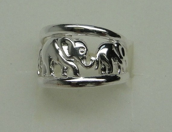 sterling silver elephant family ring by themastertouch on etsy