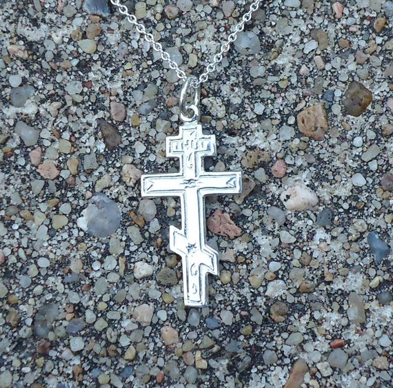 Small sterling silver, decorated, orthodox, Latin cross with chain