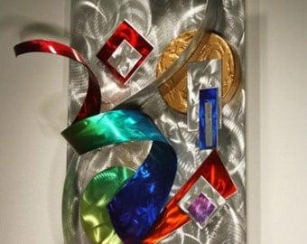 Metal Wall Art Abstract Sculpture Decor, Rainbow Art, Design by Alex Kovacs - AK380