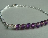 RESERVED - 5 Beaded Bar Bracelets - Amethyst and Silver Chain - Tennis Bracelet - Minimalist - Reiki Infused - Chakra Jewelry