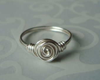 Silver Rosette Ring - Your Size - Wire Wrapped Jewelry - Rose Bud - Sterling Upgrade Available