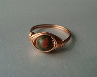 Unakite Ring - Wire Wrapped - Reiki Charged - Healing Jewelry - Grief, Fertility, Moving Forward, Mourning - Heart Chakra Jewelry