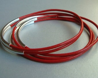 Red Leather Bangle Bracelets with Silver Plated Curved Tubes - Set of 5 - Minimalist Jewelry