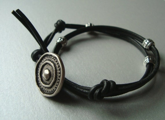 Leather Wrap Bracelet - Black and Silver Jewelry - Rustic Silver Button Clasp - Double 2x Wrap - Arm Party - Womens Leather Bracelet