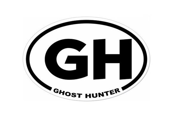 Ghost Hunter Car Decal - 3 x 4.5 inch Oval Sticker for Paranormal Investigators - Automobile Auto Decal - Car Window Decal