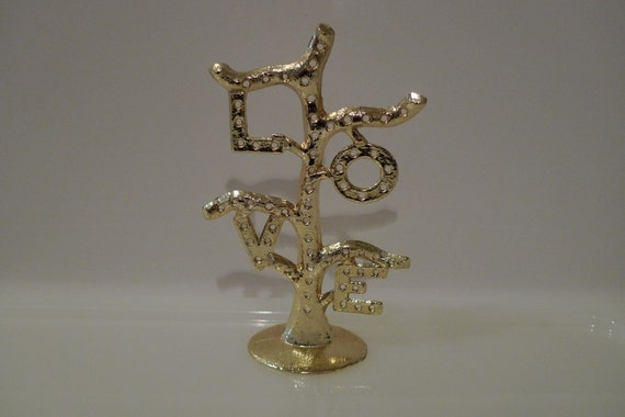 Earring Tree Stand Vintage Torino Gold Metal Love Tree Branch Display Jewelry Valentines Day Anniversary FREE SHIPPING Cool Kitsch 60's 70