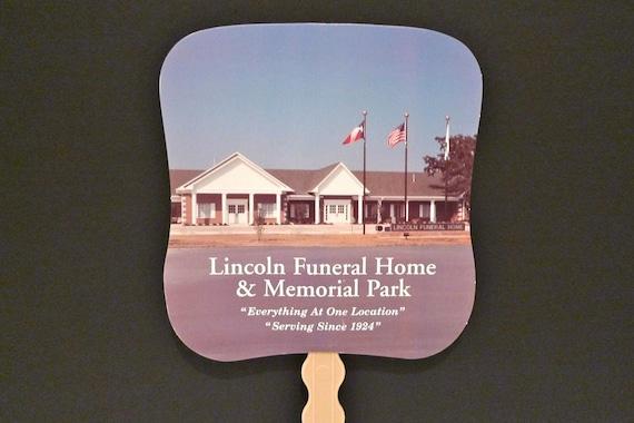 Funeral Home Fan litho Vintage Lincoln Home Dallas Texas Paddle Fan Hand held Fan Advertisement 1980s Memorial Fan Church Service Goth