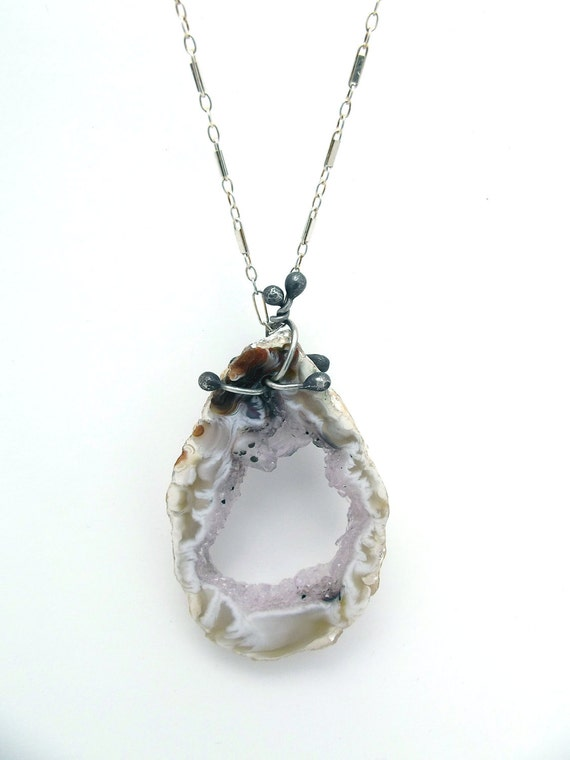 SALE Geode Necklace Long Boho Sterling Silver Chain