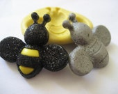 Kawaii Bumble Bee (27mm) silicone flexible miniature mold for polymer clay, resin, fondant, clay, mini foods, chocolate, and more
