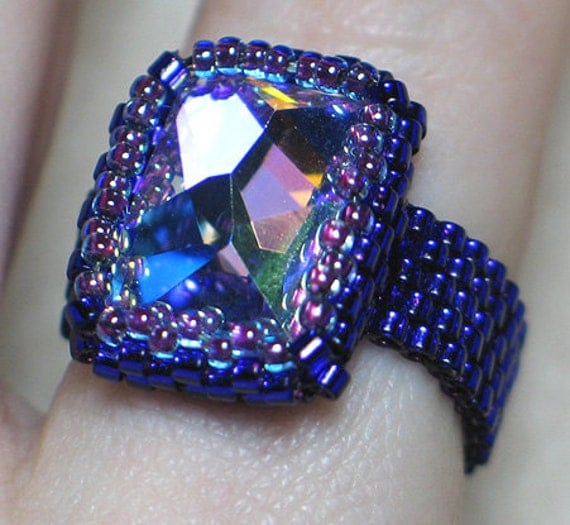 Instant Download Beading Pattern Seed Beaded Ring Beading Tutorial - Cosmic Swarovski Crystal Ring Step by Step with Photos - PDF