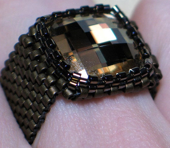 Instant Download Beading Pattern Seed Beaded Ring Tutorial - Swarovski Crystal Square Ring Step by Step with Photos - PDF