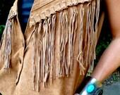 NativeFringe: Leather Fringe Tan Vest