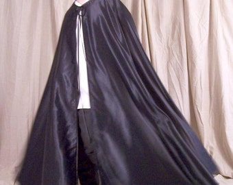 Magician Cape, Black Vampire Cape, 3/4 Circle Renaissance Cape, Black Gothic Cloak, Steampunk Cosplay, Black Satin Medieval Witch cloak