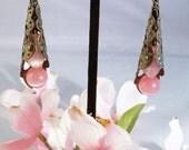 Pink Cats Eye Cone Earrings
