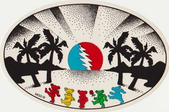 Grateful Dead Sticker Bears With Palm Trees Sunset