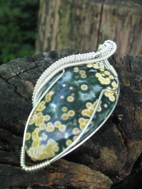 Ocean Jasper Wire Wrapped Pendant in Sterling Silver