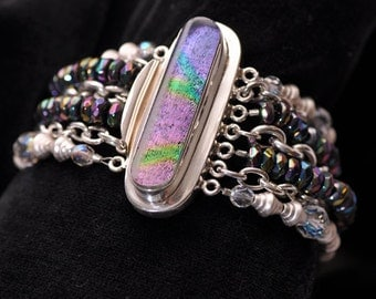 Dichroic Glass Beaded Chain Bracelet