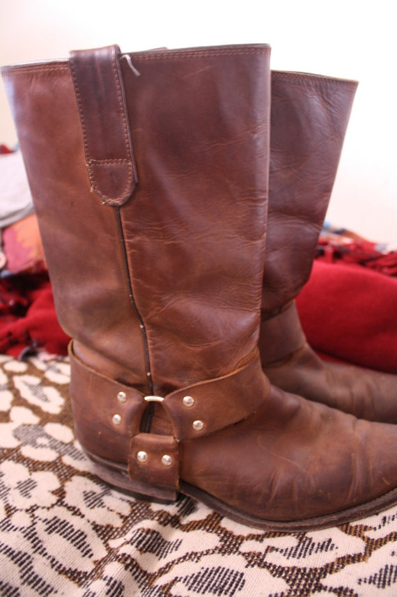 Vintage Brown Leather Motorcycle Boots Size W9 / M7