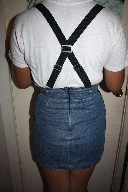 denim skirt with detachable suspenders size m