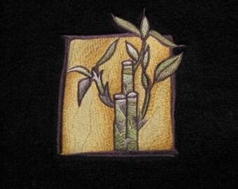 Bamboo Scene Black BATH Towel- DISCOUNTED for FLAW