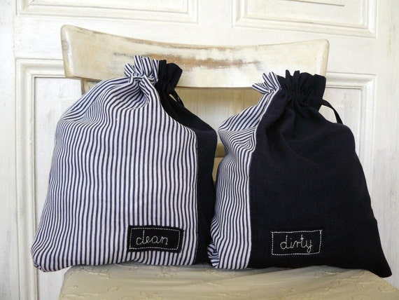 SALE Travel laundry bags for clean and dirty things,navy blue stripes, personalized gifts