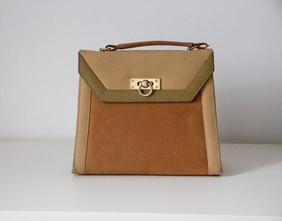 Vintage brown & beige suede handbag