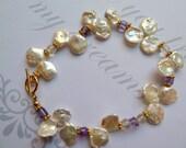 m.i.m.o.s.a - CUSTOM listing for Jo - Keshi Keishi Pearl bracelet with Amethyst
