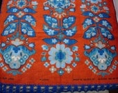 Retro 70s Folky Peasant Linen Tea Towel with Crochet Edging Blue Red