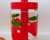 Fabulous Funky Apples or Tomatoes Henkel Glass Jar Sugar Pourer with Lid