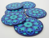Retro Flower Power Enamelware Drinks Coasters Blue and Turquoise 1970s Set of Six