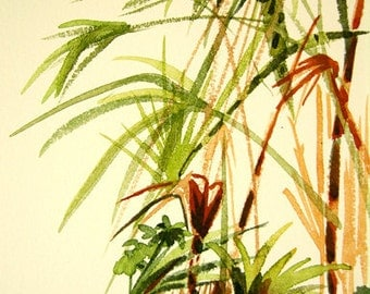 Original watercolor painting called 'tropical leaves'