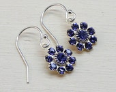 Tanzanite Swarovski Crystal Flower Earrings,Silver Earwires