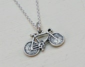 Bike Necklace, Sterling Silver, Bicycle, Mountain Bike,Antique Bike Charm,Antique Bike Pendant, Sterling Silver Bike